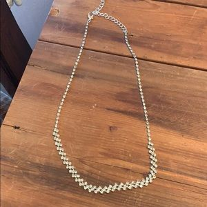 """Jewelry - Silver and cz necklace. 9.5"""". Small and pretty"""